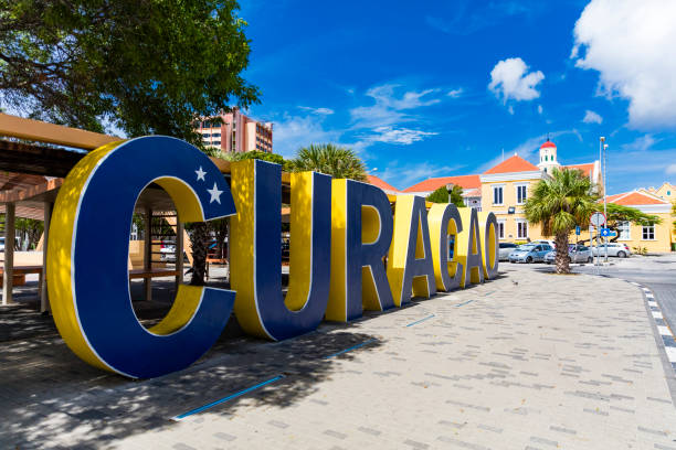 Welcome to Curacao sign in downtown Willemstad stock photo