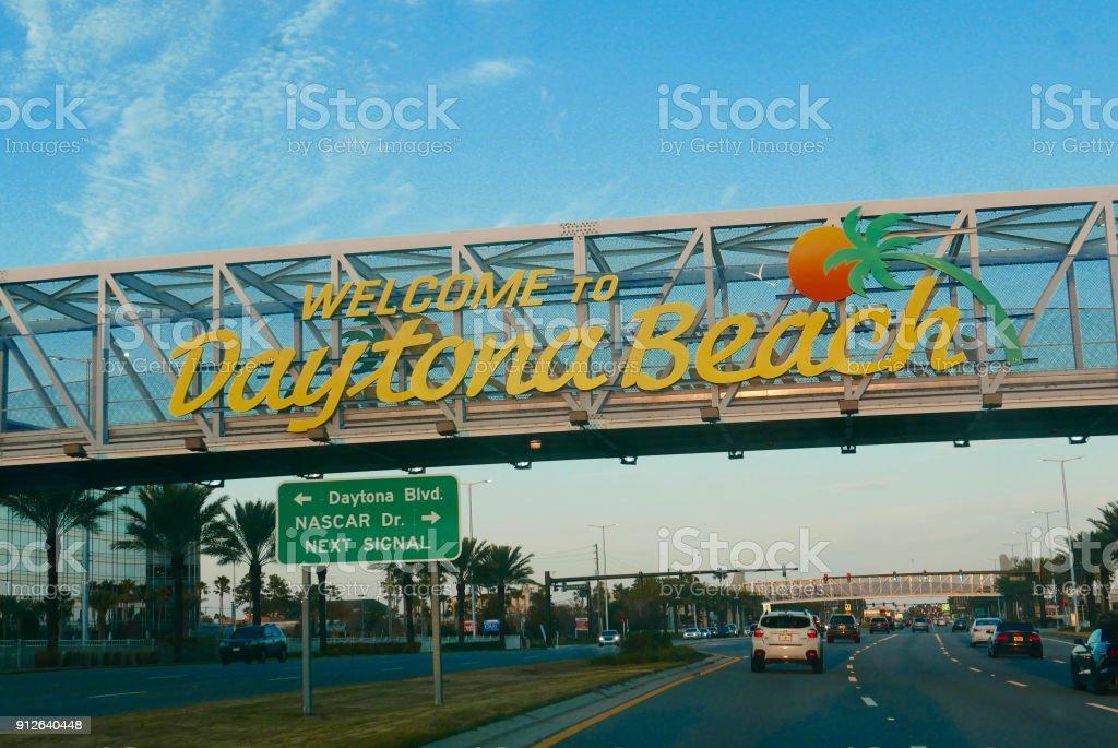 Welcome to Daytona Beach sign stock photo