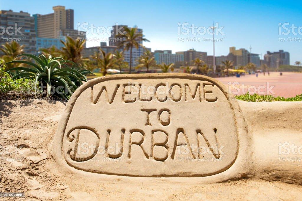 Herzlich Willkommen Sie in Durban Sand Skulptur – Foto