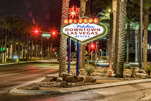Welcome to Fabulous Downtown Las Vegas sign by night
