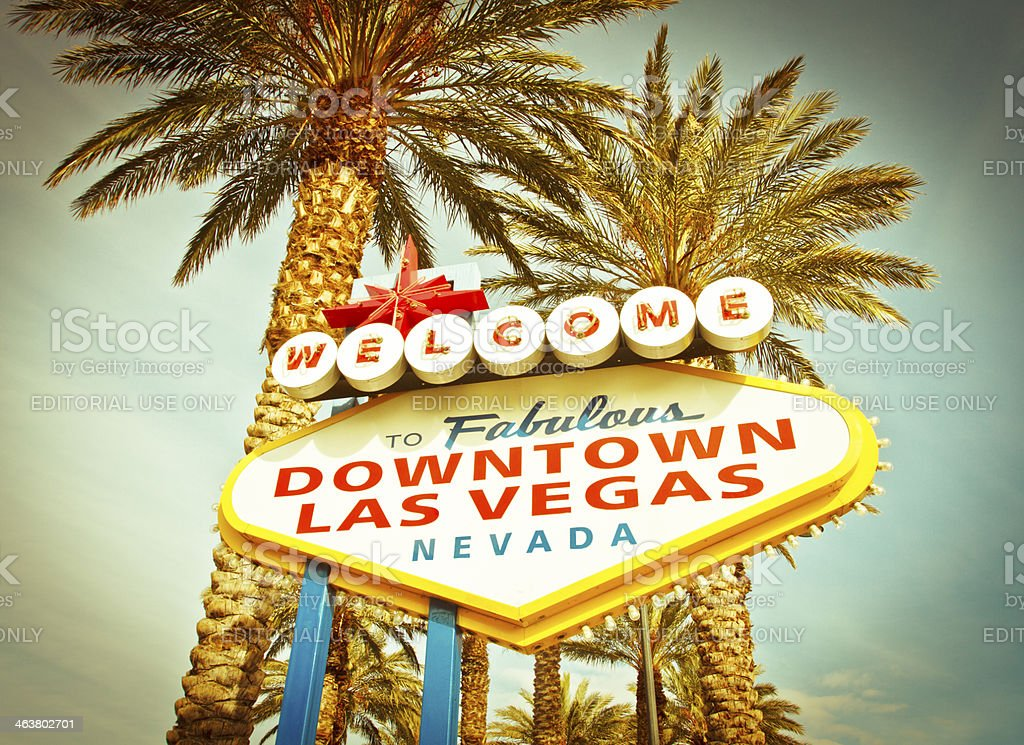 Welcome To Fabulous Downtown Las Vegas Sign with Palm Trees stock photo