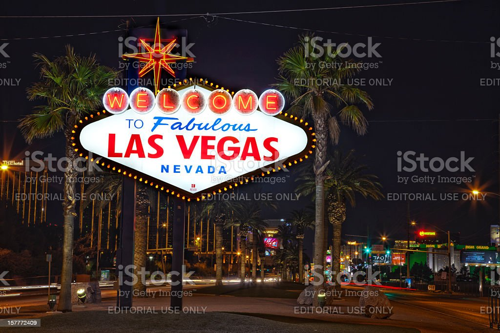 Welcome to fabulous Las Vegas sign at night stock photo