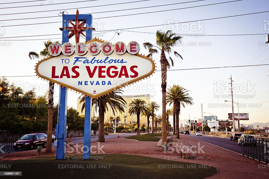 Welcome to Fabulous Las Vegas sign at sundown royalty-free stock photo