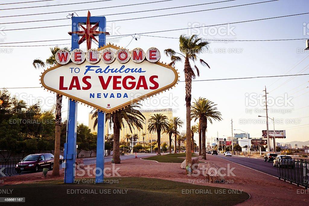 Welcome to Fabulous Las Vegas sign at sundown stock photo