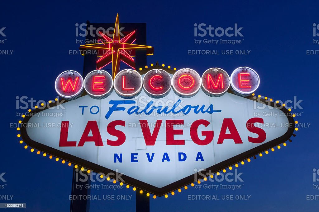 welcome to fabulous las vegas sign at sunset royalty-free stock photo