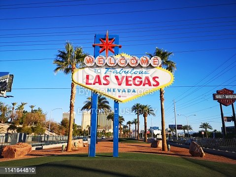 Las Vegas, USA - October 18, 2018: Welcome To Fabulous Las Vegas Sign in the morning