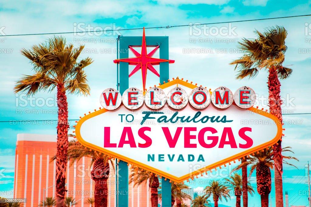 Welcome to Fabulous Las Vegas sign, Las Vegas Strip, Nevada, USA stock photo