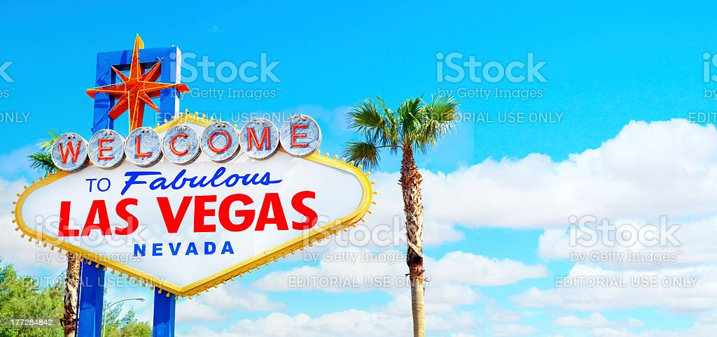 Welcome to Fabulous Las Vegas Sign Panoramic stock photo