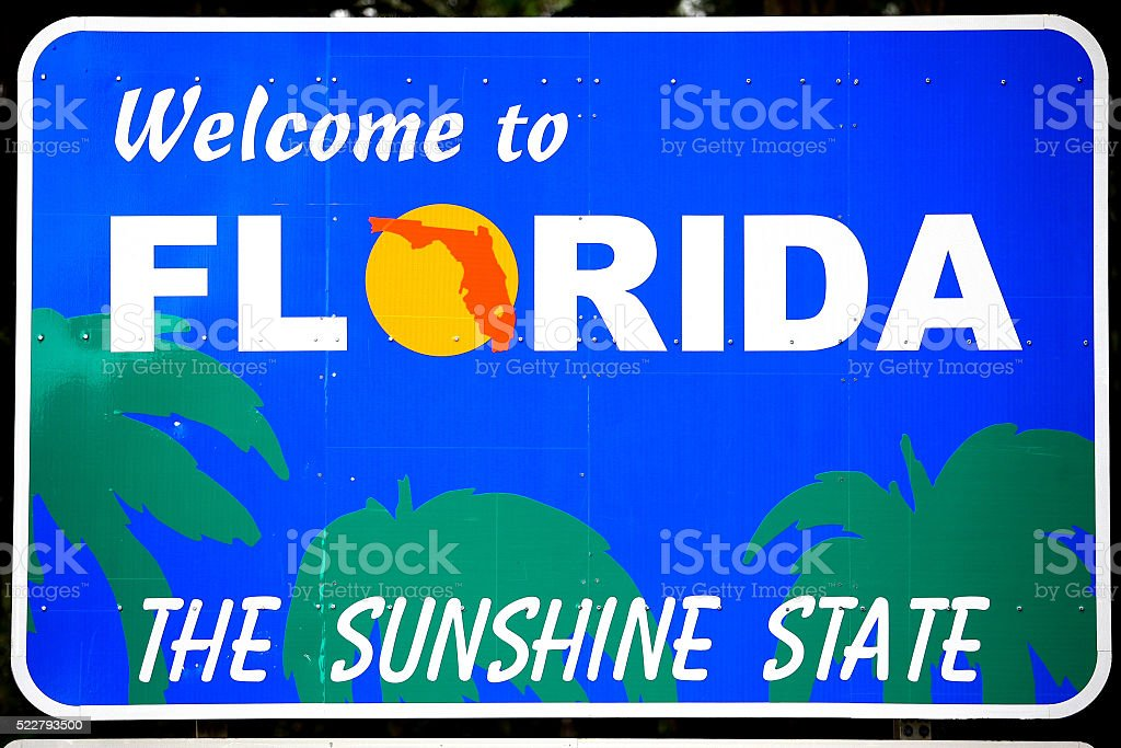 Welcome to Florida Sign stock photo