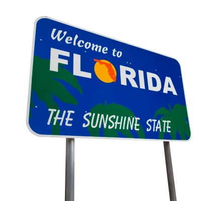 Florida welcome sign isolated on white