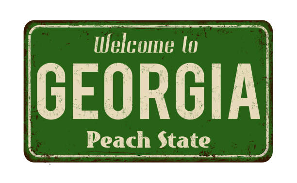 welcome to georgia vintage rusty metal sign - grecia stato foto e immagini stock