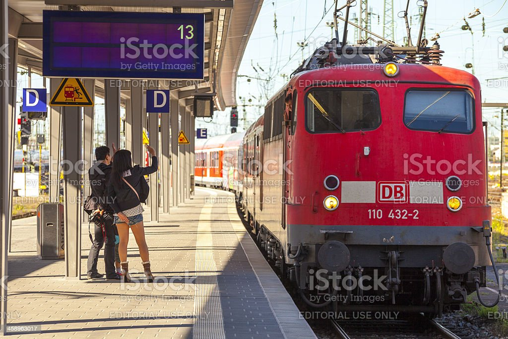 Welcome to Germany Friendly arrival at Frankfurt main Station royalty-free stock photo