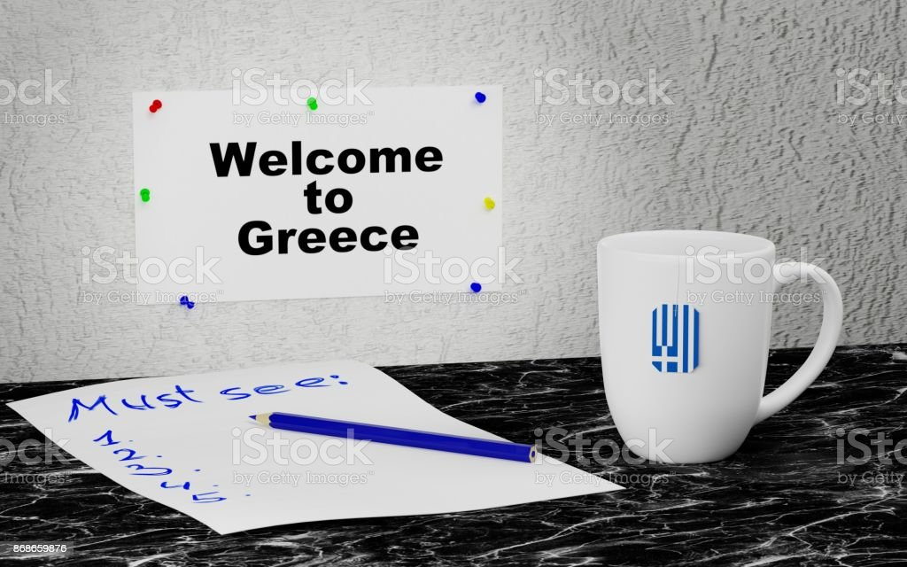 Welcome to Greece stock photo