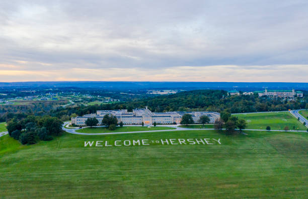 Welcome to Hershey Sign Aerial View stock photo