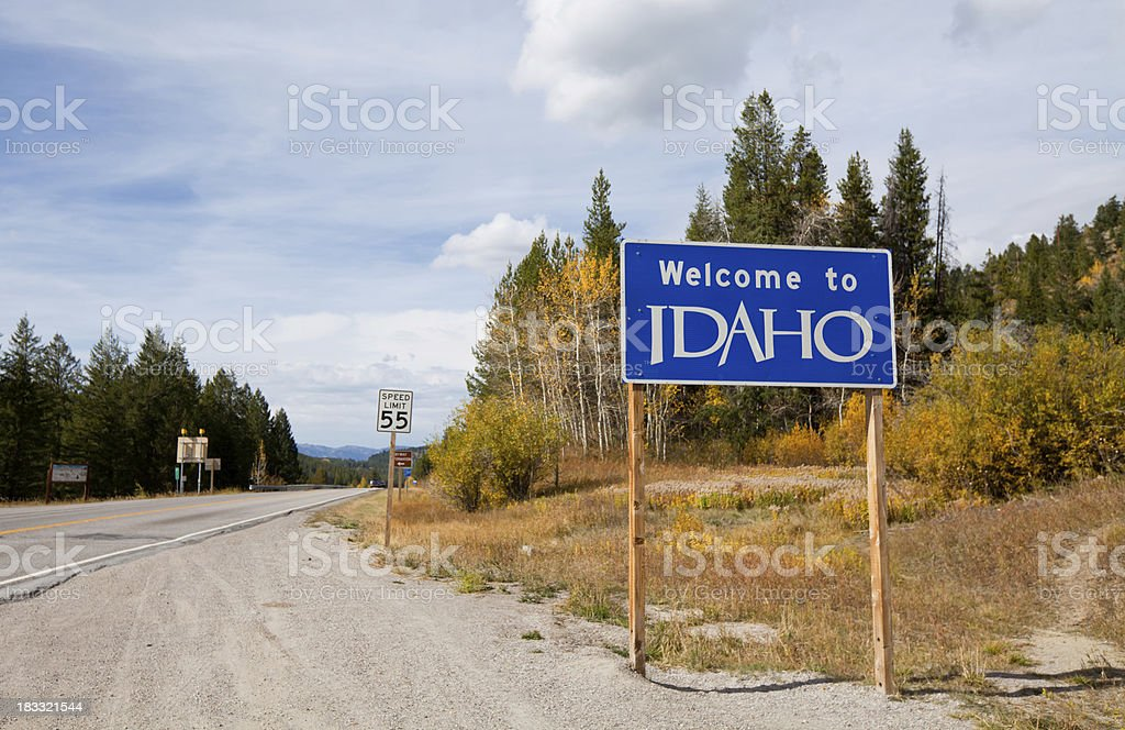 Welcome to Idaho Road Sign royalty-free stock photo