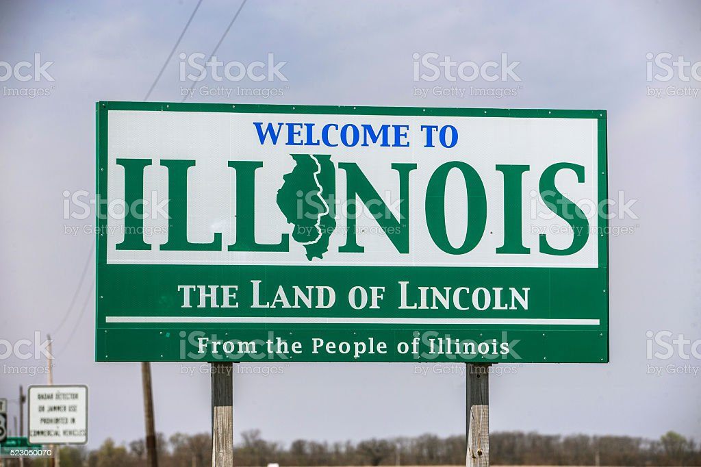 Welcome to Illinois Sign stock photo