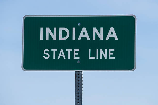 Welcome to Indiana Sign stock photo