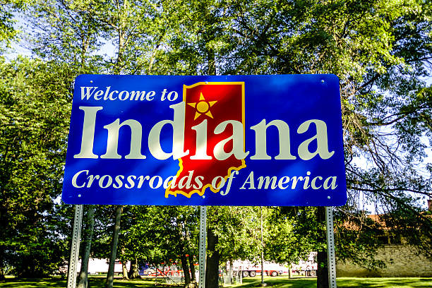 Welcome to Indiana State Signpost stock photo