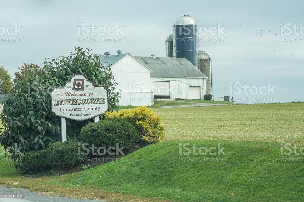 Welcome to Intercourse Pennsylvania Sign stock photo