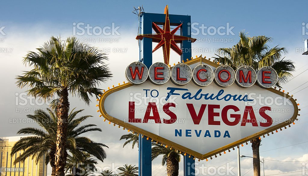 Welcome to Las Vegas Nevada Skyline City Limit Street Sign royalty-free stock photo