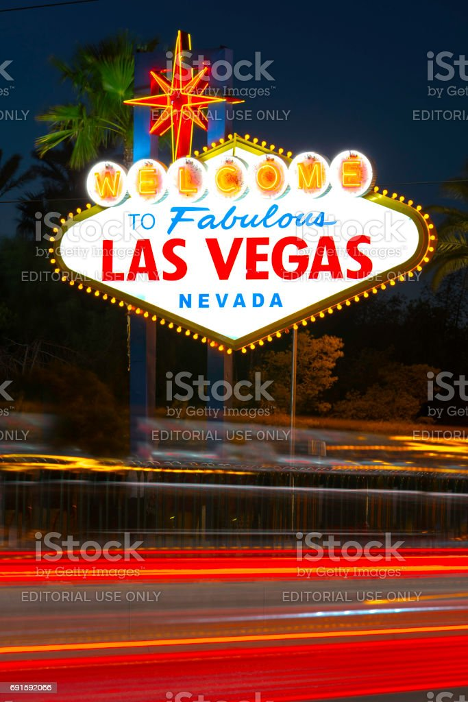 Welcome to Las Vegas Sign at Night with Motion Blur stock photo