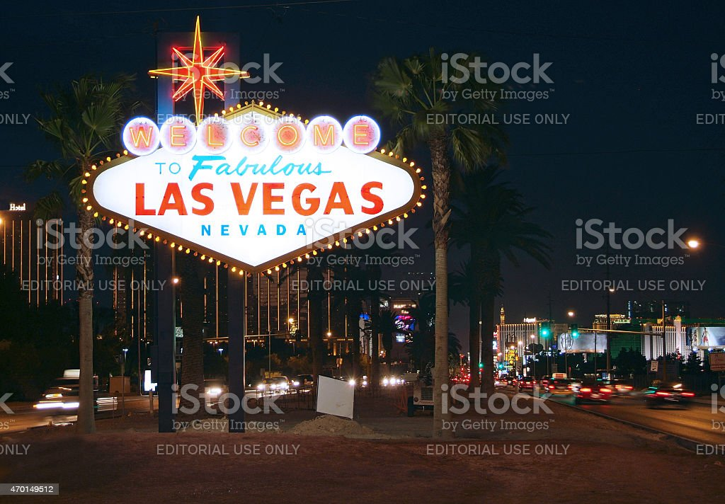 Welcome to Las Vegas sign lit up at night stock photo