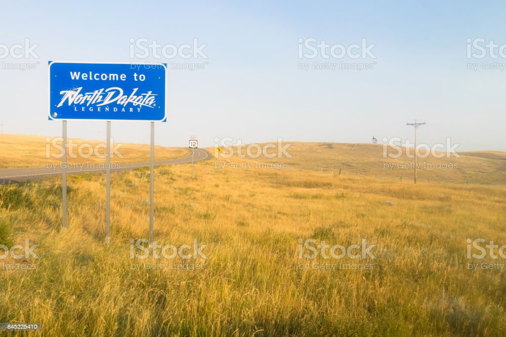 Welcome to Legendary North Dakota Road Entry Sign stock photo
