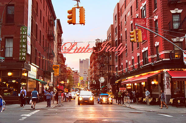 welcome to little italy - lower east side manhattan stock pictures, royalty-free photos & images