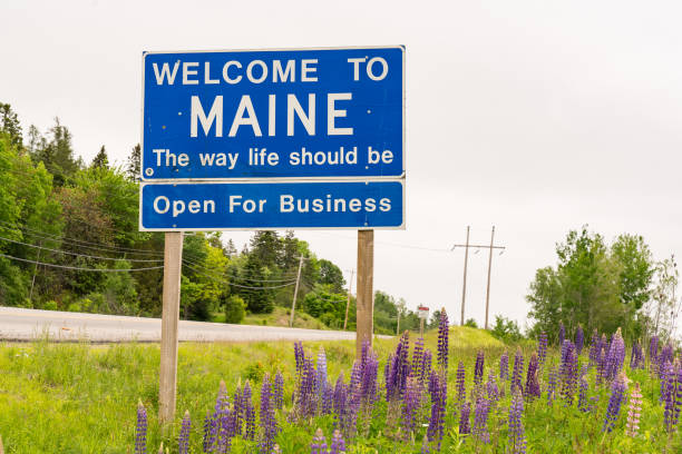 Welcome to Maine Roadside Sign stock photo