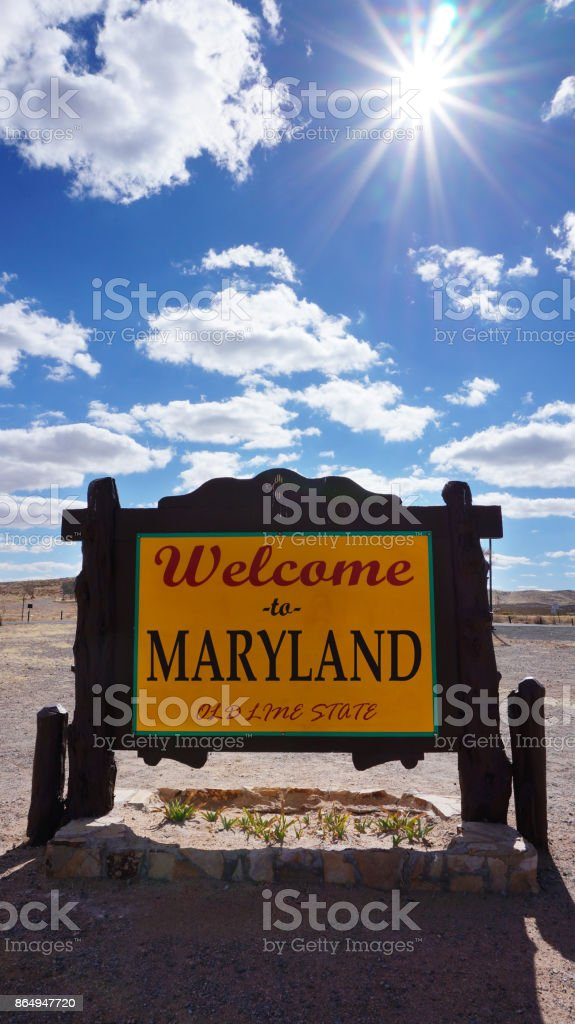 Welcome to Maryland road sign stock photo