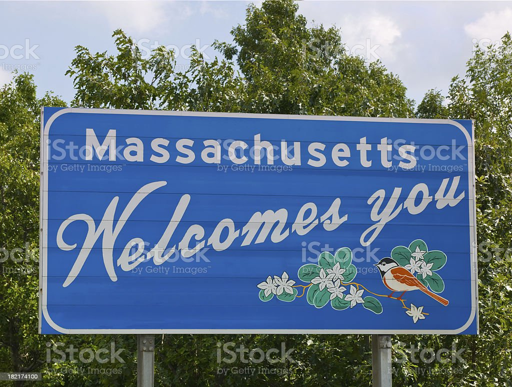 Welcome to Massachusetts stock photo