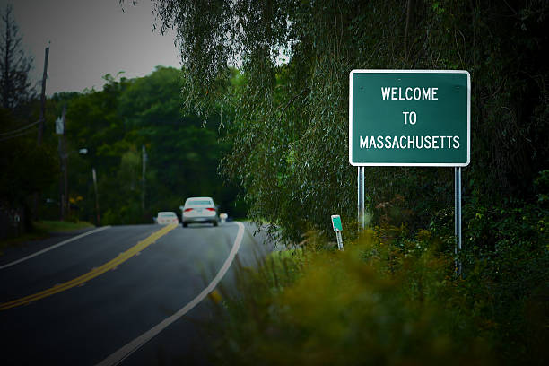 Welcome to Massachusetts sign stock photo