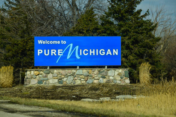 Welcome To Michigan Sign stock photo