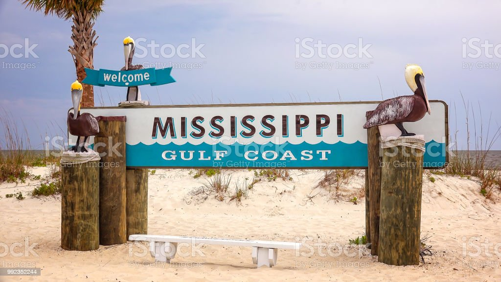 Welcome to Mississippi Gulf Coast Sign on Beach stock photo