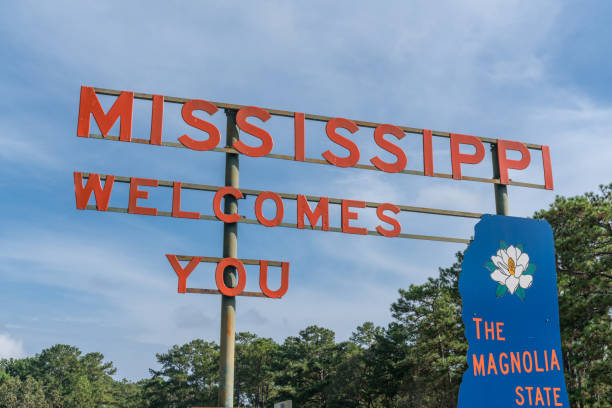 Welcome to Mississippi Road Sign stock photo