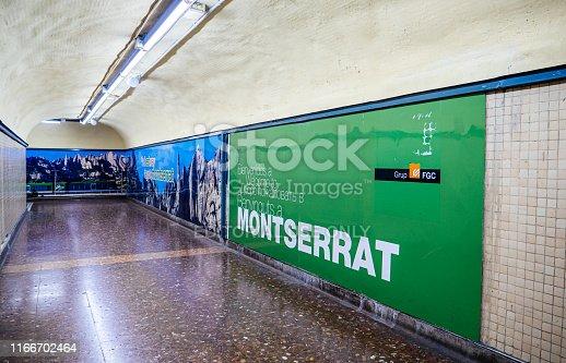 istock Welcome to montserrat Barcelona Spain metro 1166702464