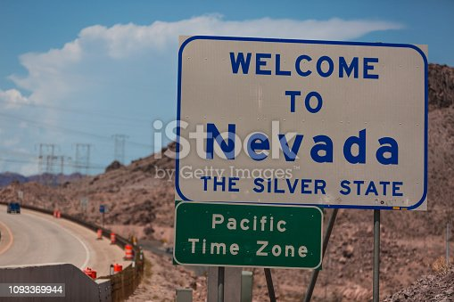 Welcome to Nevada road sign along the freeway near the Las Vegas strip