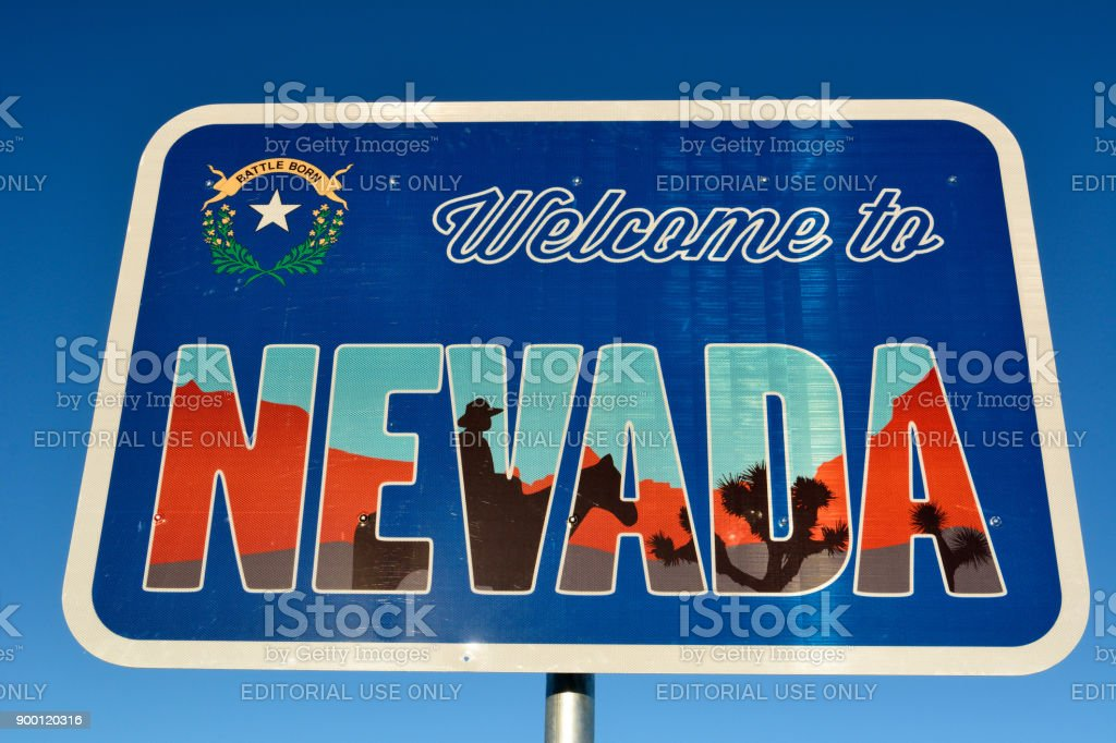 Welcome to Nevada road sign. stock photo