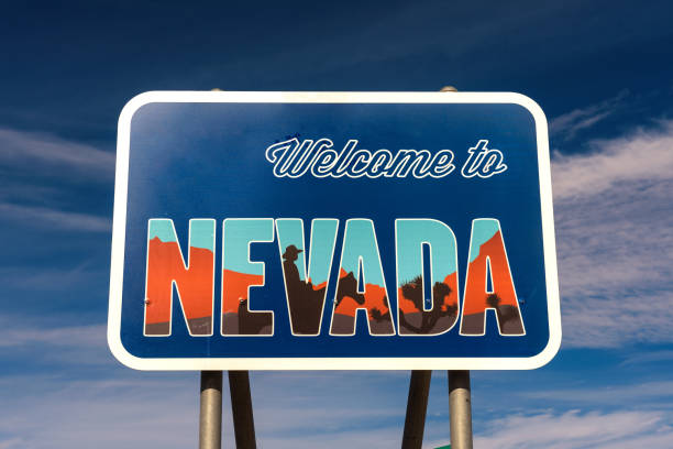 Welcome to Nevada road sign stock photo