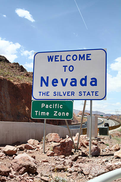 welcome to nevada sign - place sign stock pictures, royalty-free photos & images