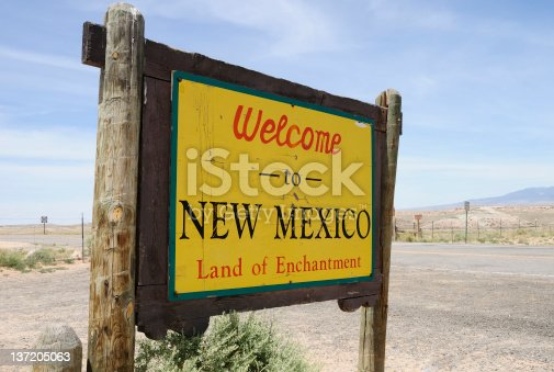 A sign welcomes visitors to the rugged New Mexico landscape. Taken at the four corners.