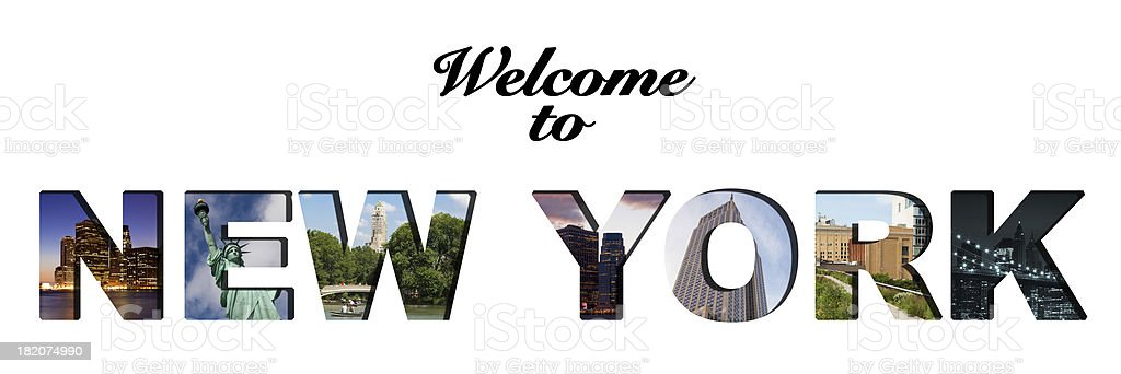 Welcome to New York text collage royalty-free stock photo