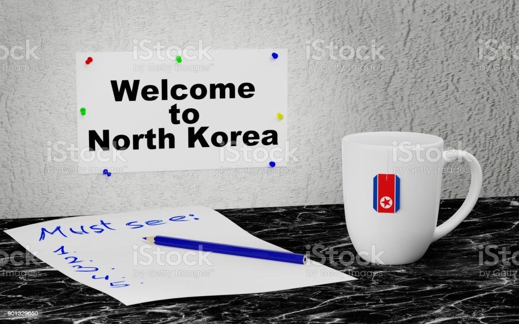 Welcome to North Korea stock photo