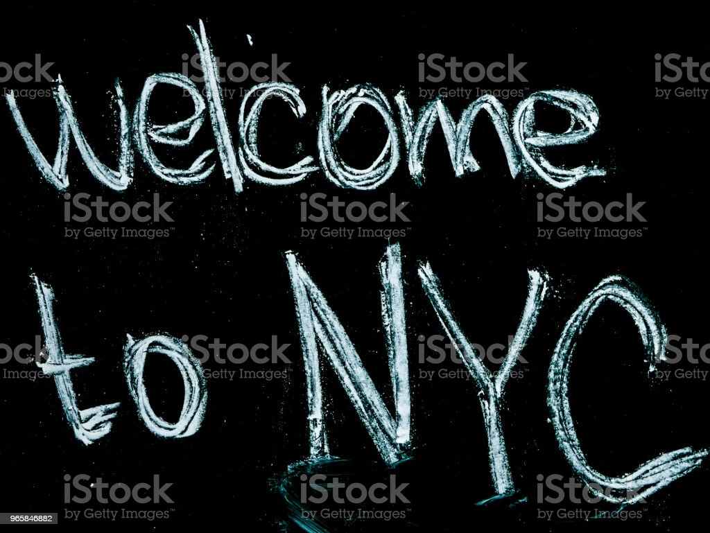 welcome to nyc text on blackboard isolated - Royalty-free Black Color Stock Photo