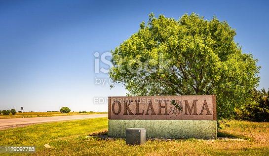 Benonine, Oklahoma, USA - May 12, 2016 : Welcome to Oklahoma road sign on I-40.