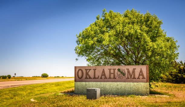 Welcome to Oklahoma road sign on I-40 stock photo