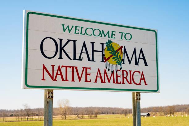 Welcome to Oklahoma Sign, Native America stock photo