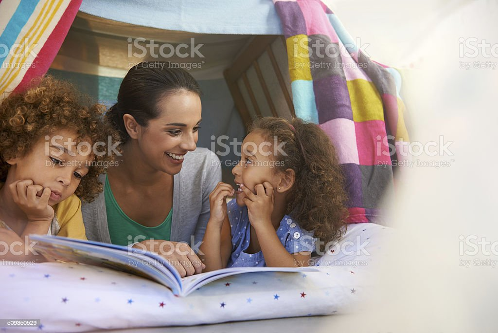 Welcome to our blanket fort stock photo
