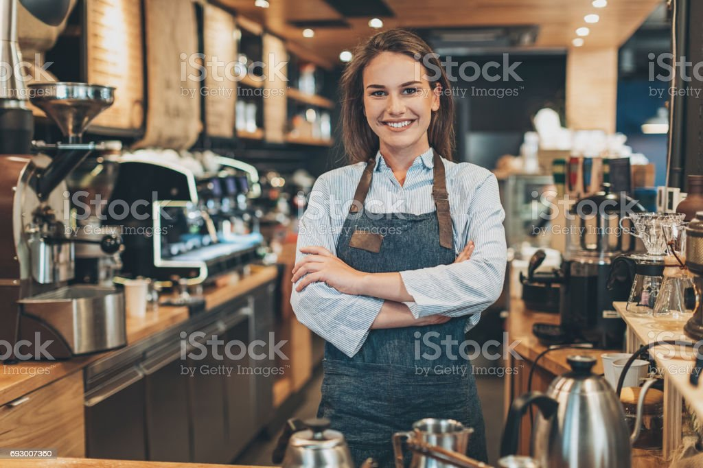 Welcome to our coffee shop! stock photo