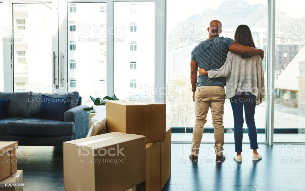 Welcome to our loving new home stock photo